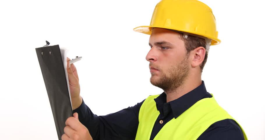 Elegant Stock Video Clip Of Satisfied Constructor Engineer Man Taking Note  Examining | Shutterstock