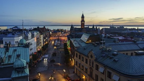 4K Timelapse video, aerial view of the beautiful city - Helsingborg, Sweden from sunset to night