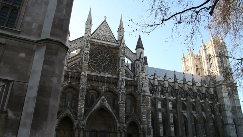 Westminster Abbey London - HD stock footage clip & London Landmark Westminster Abbey Church Great North Door Gothic ... pezcame.com