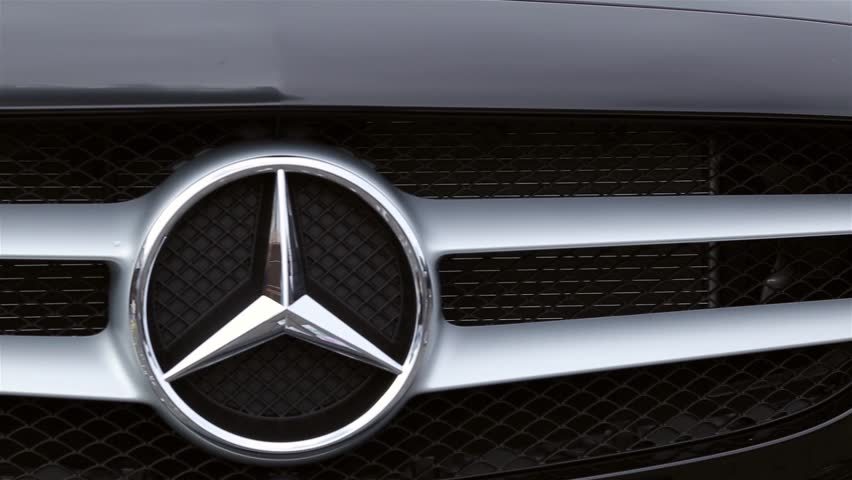 Front car icon Mercedes-Benz in the camera movement