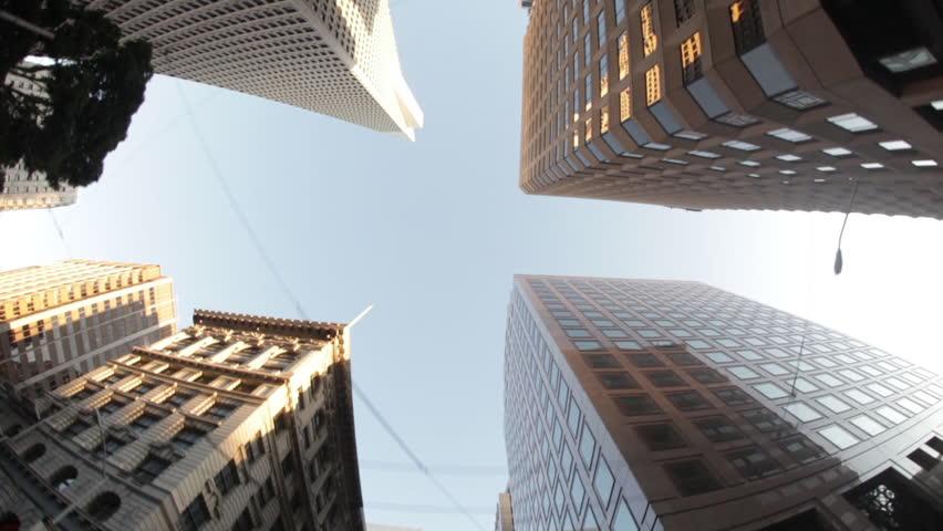 SAN FRANCISCO, CALIFORNIA - CIRCA 2011; Skyscraper-Lined Street