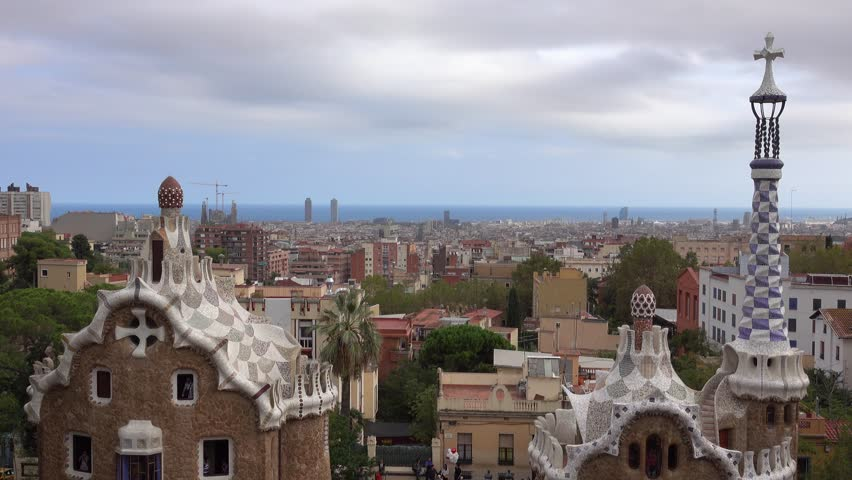Fantastic aerial view over Barcelona from Park Guell - BARCELONA / SPAIN - OCTOBER 3, 2016 | Shutterstock HD Video #20247172