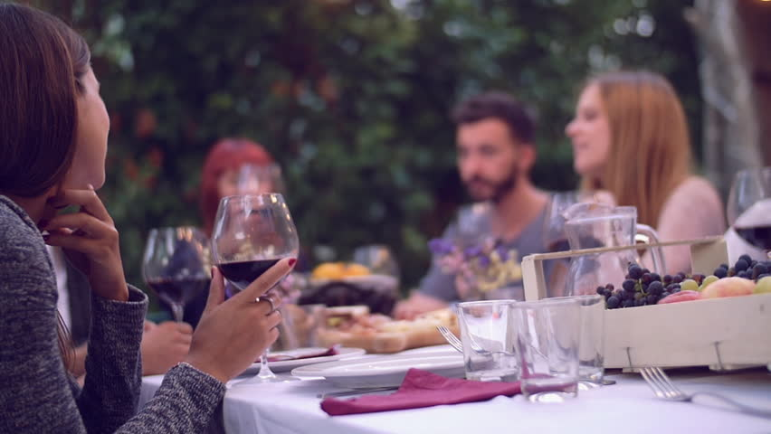 Good Dinner Party Video Part - 3: Group Of Friends Enjoying Together At A Dinner Party - 4K Stock Video Clip