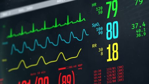 Normal vital signs on bedside ICU monitor, patient stable after heart surgery. Medical ICU monitor with patient's vital signs