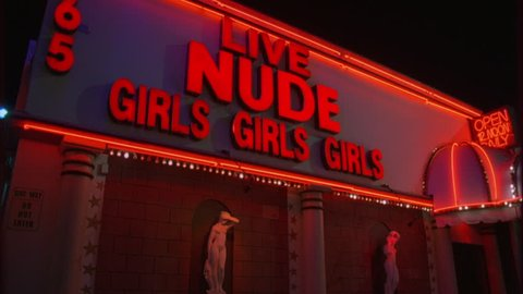 night Tight Static left brick stone Live Nude Girls Girls strip club nude bar awning, twinkle lights two Greek Roman style nude women statues pedestals wall adult entertainment, XXX
