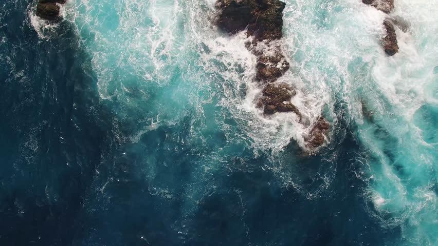 Cliffs near Porto Moniz Madeira aerial view