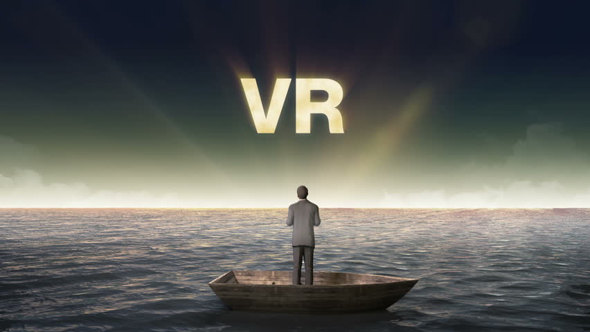 Rising typo 'V R', front of Businessman on a ship, in the ocean, sea.