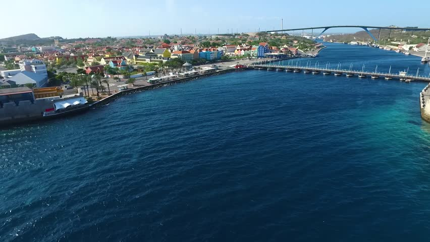 Aerial flying towards into Willemstad, Curacao