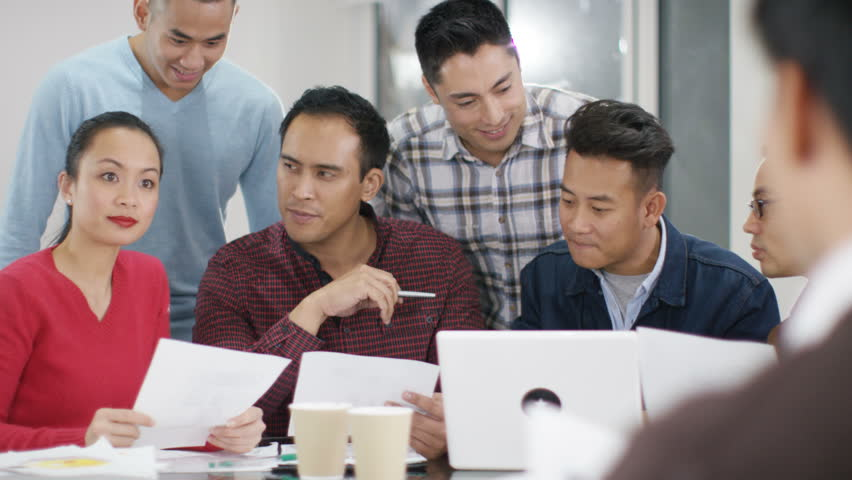 4K Attractive casual business group looking at laptop & brainstorming for ideas. Shot on RED Epic. | Shutterstock HD Video #20373682