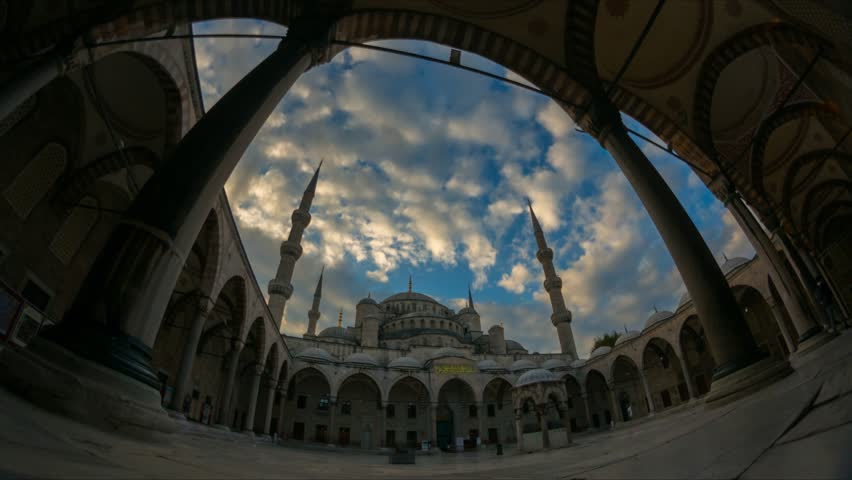 Zoom in effect with fisheye lens of Sultanahmet mosque (Blue mosque) exterior in Istanbul, Turkey in 4K. #20375812