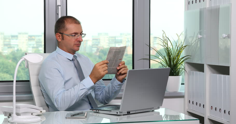 Business Man Work Using Digital Tablet Searching Surfing Internet In ...