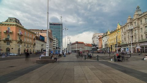 Central city square (Trg bana Jelacica) timelapse hyperlapse and Ban Jelacic monument in Zagreb, Croatia. The oldest standing building here was built in 1827