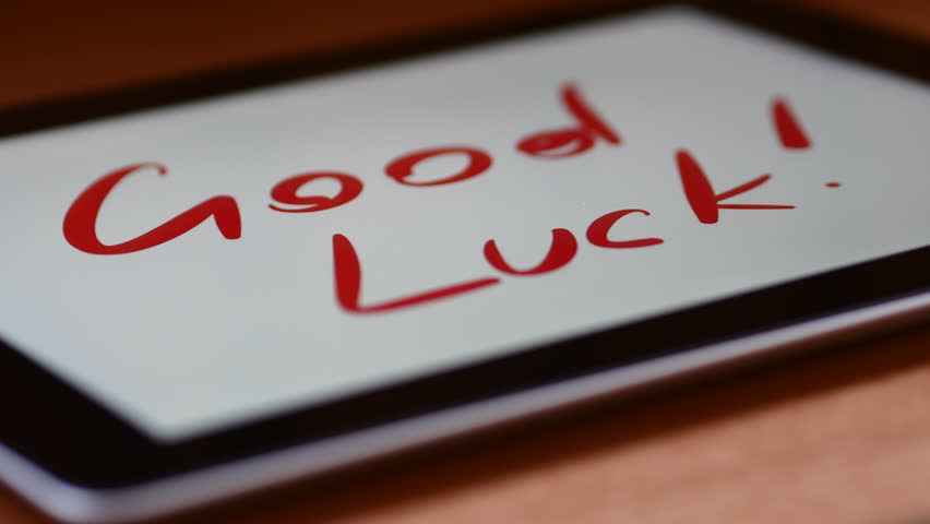 Text Appears On The Tablet Itself. Good Luck! | Shutterstock HD Video #20397202