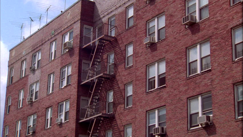 Day Up Angle Static Red Brick Eastern Apartment Building Fire Escape Stock  Footage Video 20407492 | Shutterstock