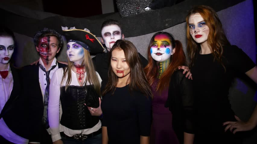 4k0006SAINT PETERSBURG RUSSIA - OCTOBER 31 2015 People in costumes nightclub on halloween party. Pirates cat v&ire saw movie. Bloody  sc 1 st  Shutterstock & Stock video of saint petersburg russia - october 31 | 20413609 ...