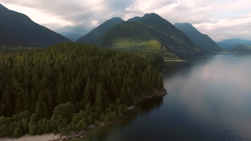 Lake and Mountains aerial footage in British Columbia Canada