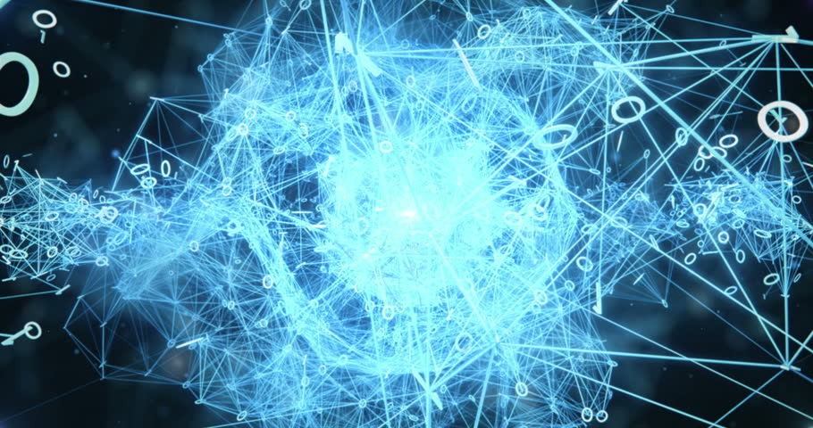Pulsating digital nodes and connections of some network flying towards the camera. This animation can be used for visuals, vj, light presentations or as motion background. Seamless Loop. 4k resolution