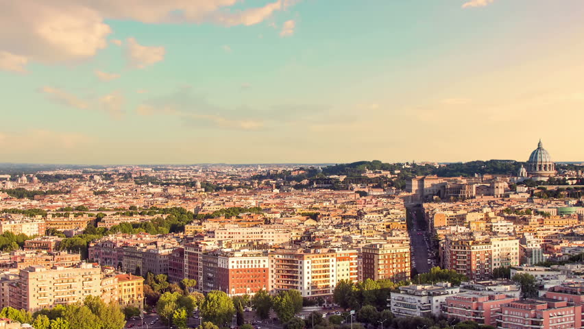 Rome skyline at sunset timelapse from day to night zoom out | Shutterstock HD Video #20448112