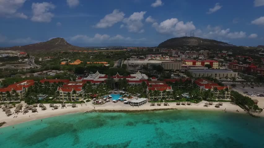 Aeral overview of Marriott Hotel beach on Curacao