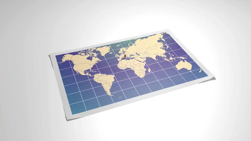 Hd00 07world Map With Close Up In Pushpin In Rome Italy 3d