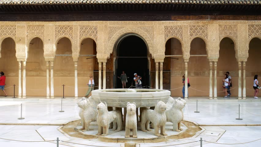 spain june 2016 marble lions fountain of the lion in alhambra palace
