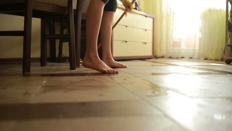Woman makes cleaning. girl cleaning the floor mop. cleaning