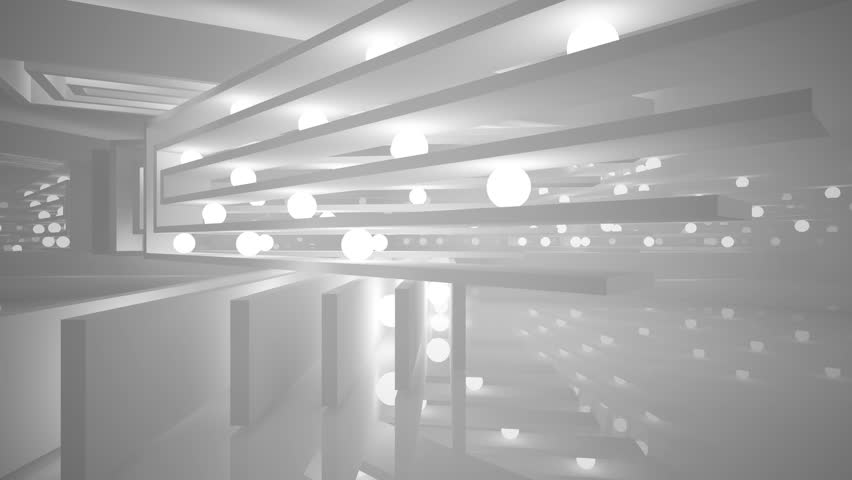 Abstract Interior With Luminous Spheres Night View 3D Animation And Rendering