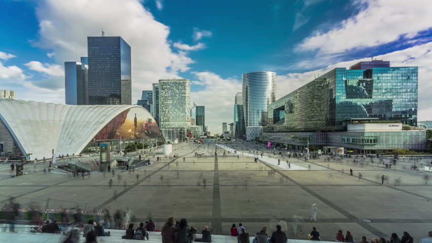 Time lapse - Parvis la Defense, Paris, France, crowds of people - zoom IN  - August 2016 | Shutterstock HD Video #20489032
