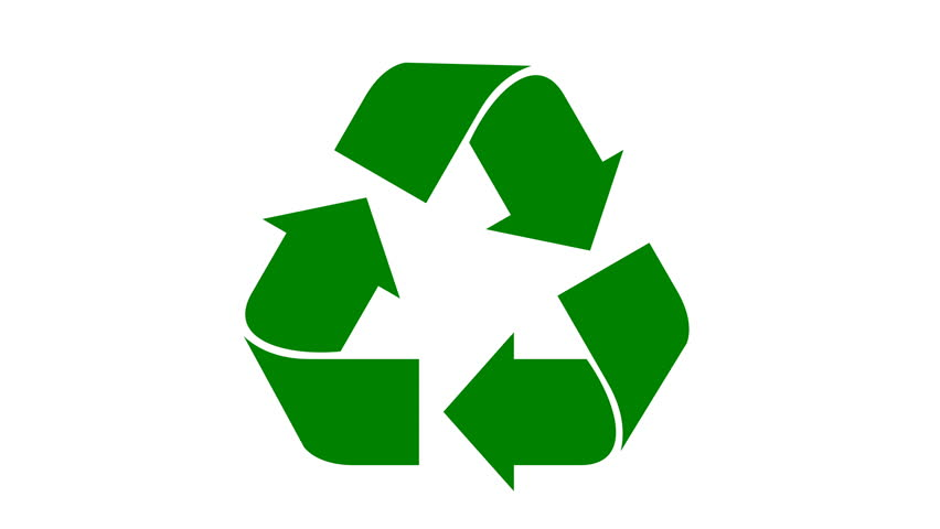 Universal recycle icon. Loopable animation with rotating arrows. Flat green color. Alpha matte included.
