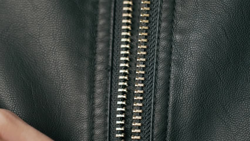 close up Opened zipper on man leather jacket