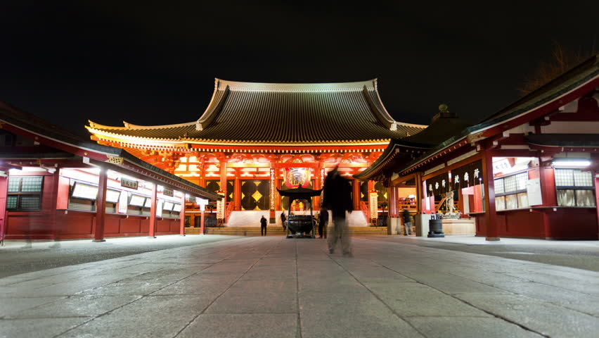 TOKYO - FEBRUARY 10: (Time lapse view) Low angle view of Senso-ji Temple in Asakusa on February 10, 2012 in Toyko, Japan. Sensoji temple is one of the most famous landmarks in Tokyo.