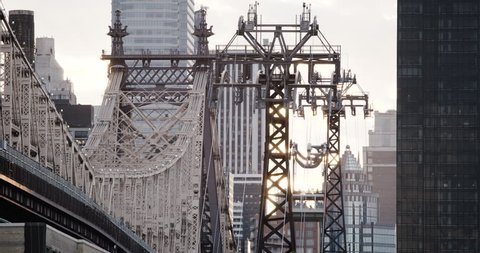 An establishing shot of New York City's Ed Koch Queensboro Bridge. The bridge connects New York City's boroughs of Manhattan and Queens. Shot during the summer of 2016 in 4k. (Jun 16 - New York City)