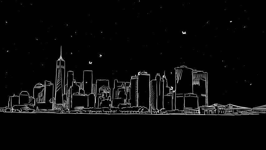 New York Panorama Outline Animation Hand Drawn Sketch ...