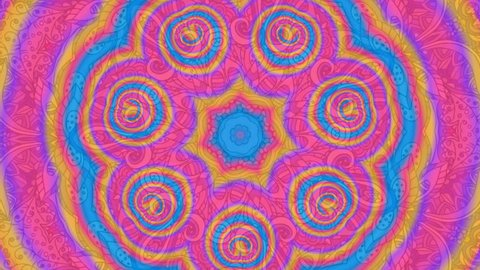 Colorful Kaleidoscopic Video Background. Colorful kaleidoscopic patterns. Zoom in rainbow color circle design. Or for events and clubsmedallion, yoga, india, arabic, mandala, fractal animation