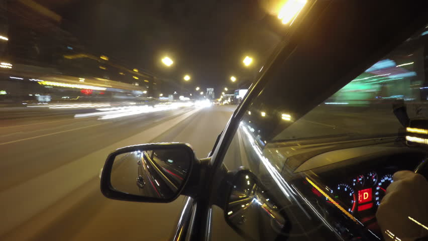 Night road POV through the city at night timelapse left side of the car | Shutterstock HD Video #20579752