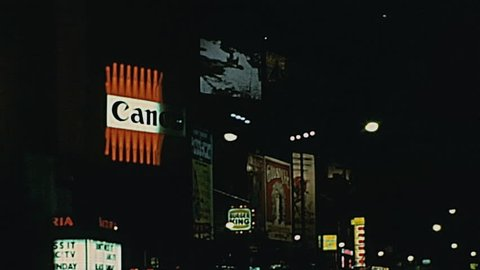 New York 1977: Coca Cola signs in the night in 1977 in New York