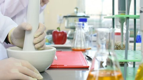 Scientist uses ceramic mortar and pestle for food inspection