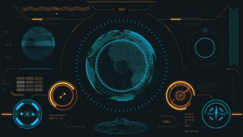 Hi Tech Scan Screen Skull 01 Hd 3d Animation