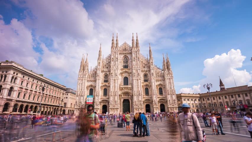 MILAN, ITALY - SEPTEMBER 2016: sunny day milan city famous duomo cathedral square panorama 4k time lapse circa september 2016 milan, italy.