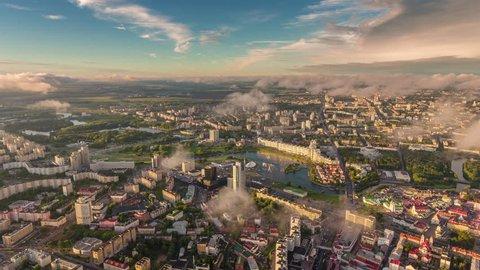 minsk cityscape sunset sunrise aerial center panorama 4k time lapse belarus