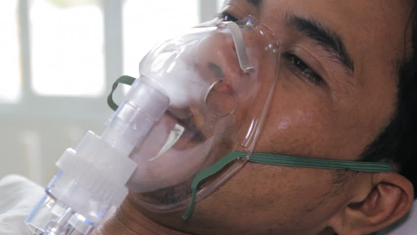 Patient with bronchial asthma receiving medical treatment.