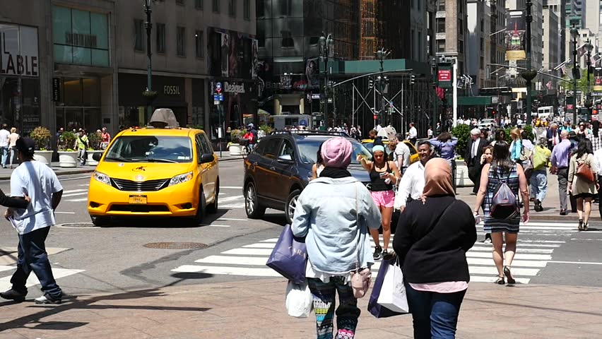 NEW YORK - CIRCA MAY 2015: (slow motion) People walking in the street.