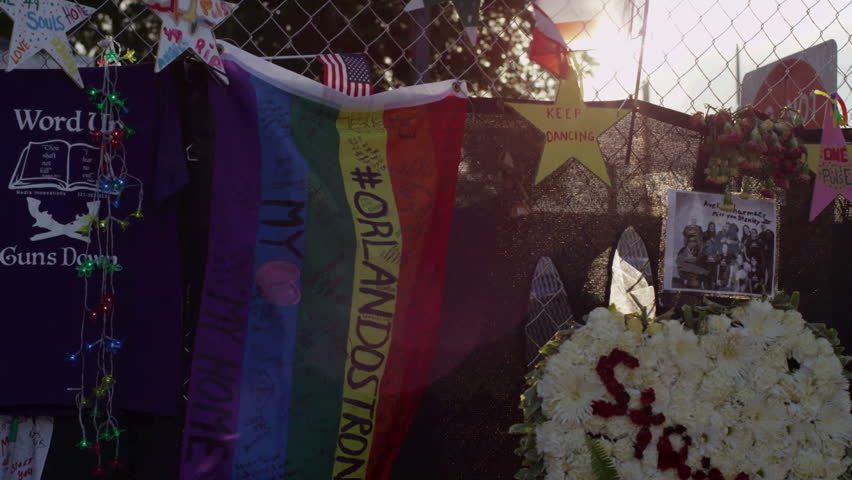 ORLANDO, FL- JULY 6, 2016: Messages to loved ones are displayed at the Pulse Memorial. On June 12, 2016 Omar Mateen killed 49 people at Pulse in the deadliest terrorist attack in the U.S. since 9/11.