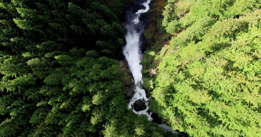 Aerial Waterfalls River Cutting Through Forested Landscape Looking Down