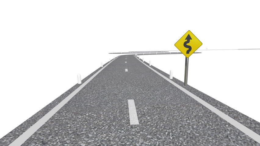 Winding Road (HD Animation). Computer rendering of a winding road with signs and posts. Includes Alpha Channel.