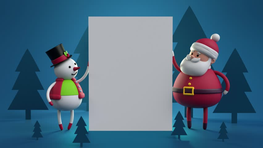 3d cartoon animation happy new year greeting card forest landscape 3d cartoon animation happy new year greeting card forest landscape snowman santa claus blank banner white paper page blue holiday background stock m4hsunfo Images