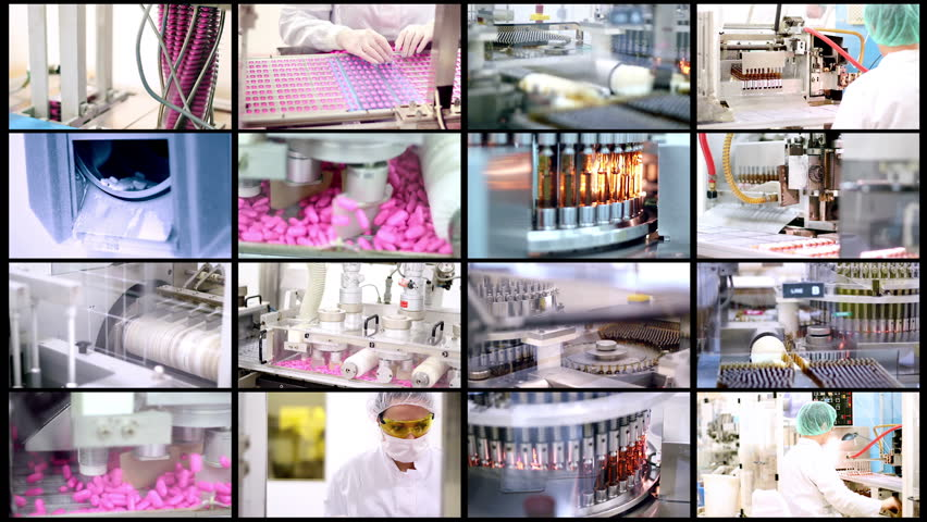 Medicine Production.Pharmaceutical Technology. Industrial Equipment. Collage of video clips showing pharmaceutical equipment for medicine production in pharmaceutical plant. HD1080p.