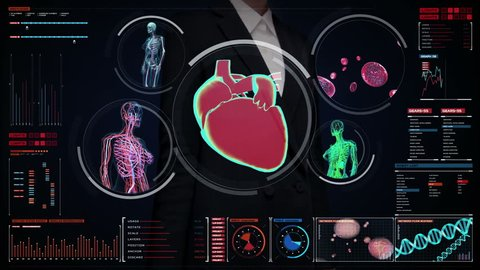 Businesswoman touching digital screen,  Female body scanning blood vessel, lymphatic, heart, circulatory system in digital display dashboard. Blue X-ray view.
