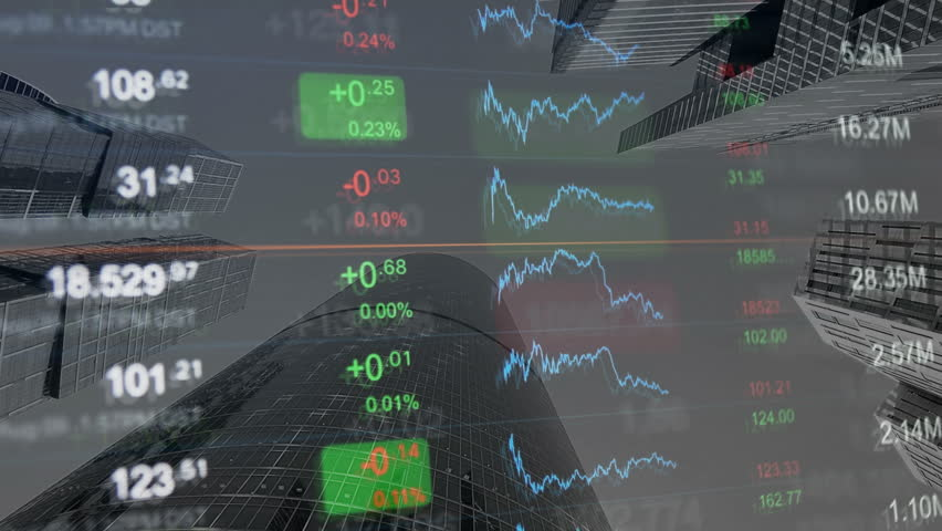 Financial background, finance, financial markets, business concept pattern. Numbers and chart at background of financial buildings. Gray background for market news, business and financial themes. | Shutterstock HD Video #20769202