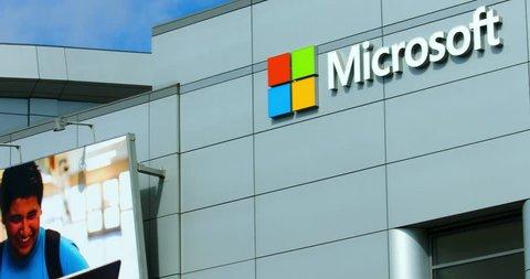 LOS ANGELES, CALIFORNIA, USA - OCTOBER 16, 2016: Microsoft logo and billboard at Microsoft Square LA LIVE on October 16, 2016 in Los Angeles, California, 4K, from RAW